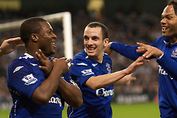 MANCHESTER, ENGLAND - Monday, February 25, 2008: Everton's goalscorer Yakubu Ayegbeni celebrates the opening goal with team-mate Leon Osman (R) against Manchester City during the Premiership match at the City of Manchester Stadium. (Photo by David Rawcliffe/Propaganda)