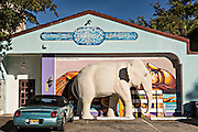 An elephant sculpture outside the Chalk Art Festival offices in the trendy neighborhood of Burns Square in downtown Sarasota, Florida.