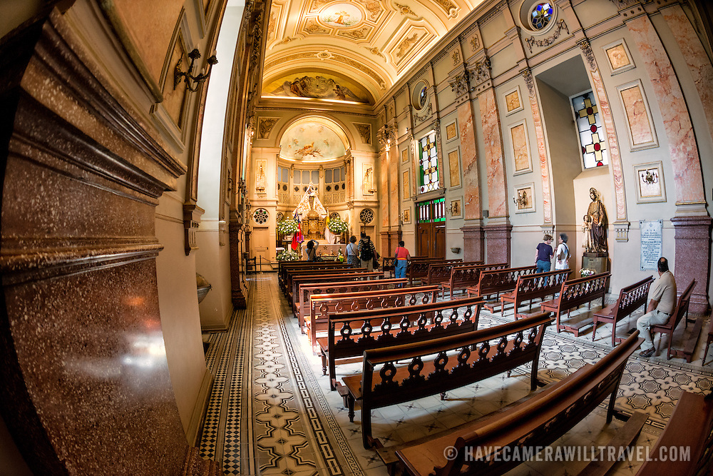 A chapel in the Metropolitan Cathedral of Santiago (Catedral Metropolitana de Santiago) in the heart of Santiago, Chile, facing Plaza de Armas. The original cathedral was constructed during the period 1748 to 1800 (with subsequent alterations) of a neoclassical design.