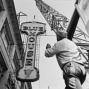 Y-580805-04.  Blue Mouse Theatre, marquee dismantled, old Globe Theatre sign revealed. 626 SW 4th. August 5, 1958