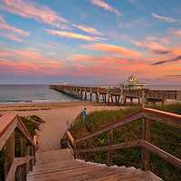 South Florida sunset photography of Juno Pier Fishing Pier and beach in Palm Beach County, FL. This Florida Juno Pier photography image is available as museum quality photography prints, canvas prints, acrylic prints or metal prints. Fine art prints may be framed and matted to the individual liking and decorating needs:<br />