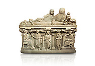 """Roman relief sculpted sarcophagus of Aurelia Botiano and Demetria depicted reclining on the lid, 2nd century AD, Perge Inv 1.35.99. Antalya Archaeology Museum, Turkey.<br /> <br /> it is from the group of tombs classified as. """"Columned Sarcophagi of Asia Minor"""". The lid of the sarcophagus is sculpted into the form of a """"Kline"""" style Roman couch on which lie Julianus &  Philiska. This type of Sarcophagus is also known as a Sydemara Type of Tomb.. Against a white background.<br /> <br /> If you prefer to buy from our ALAMY STOCK LIBRARY page at https://www.alamy.com/portfolio/paul-williams-funkystock/greco-roman-sculptures.html . Type -    Antalya    - into LOWER SEARCH WITHIN GALLERY box - Refine search by adding a subject, place, background colour, etc.<br /> <br /> Visit our ROMAN WORLD PHOTO COLLECTIONS for more photos to download or buy as wall art prints https://funkystock.photoshelter.com/gallery-collection/The-Romans-Art-Artefacts-Antiquities-Historic-Sites-Pictures-Images/C0000r2uLJJo9_s0"""