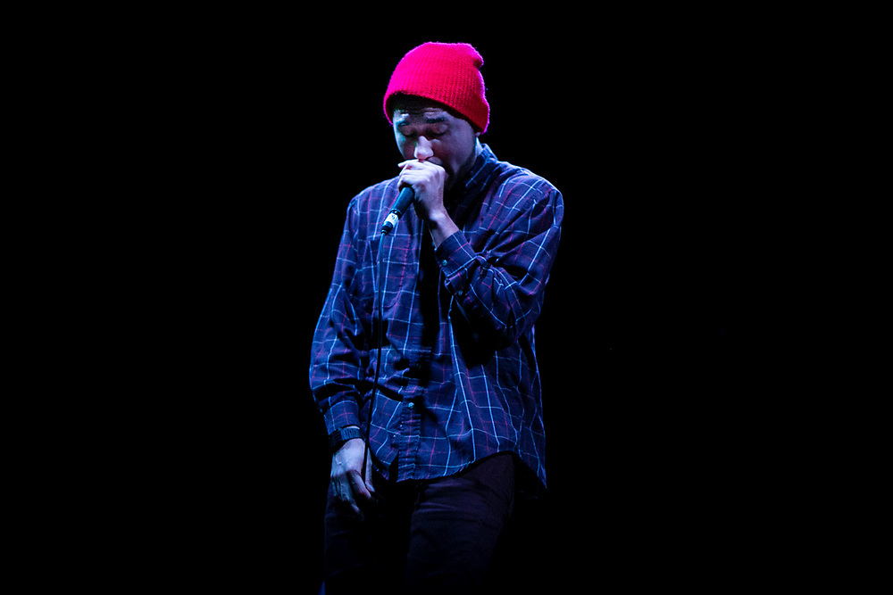 Dallas, Texas 11/10/12<br /> <br /> Oak Cliff rapper Dustin Cavazos performs new song from his upcoming album In and Out of Sleep at the Dallas Observer's Musis Awards showcase. <br /> <br /> Credit: Mikel Galicia