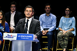 Gerald Darmanin delivers a speech at the Right-wing Les Republicains (LR) party's candidate for the LR party primaries ahead of the 2017 presidential election, former French President Nicolas Sarkozy's campaign rally at the Zenith venue in Paris, France, on October 9, 2016. Photo by Yann Korbi/ABACAPRESS.COM