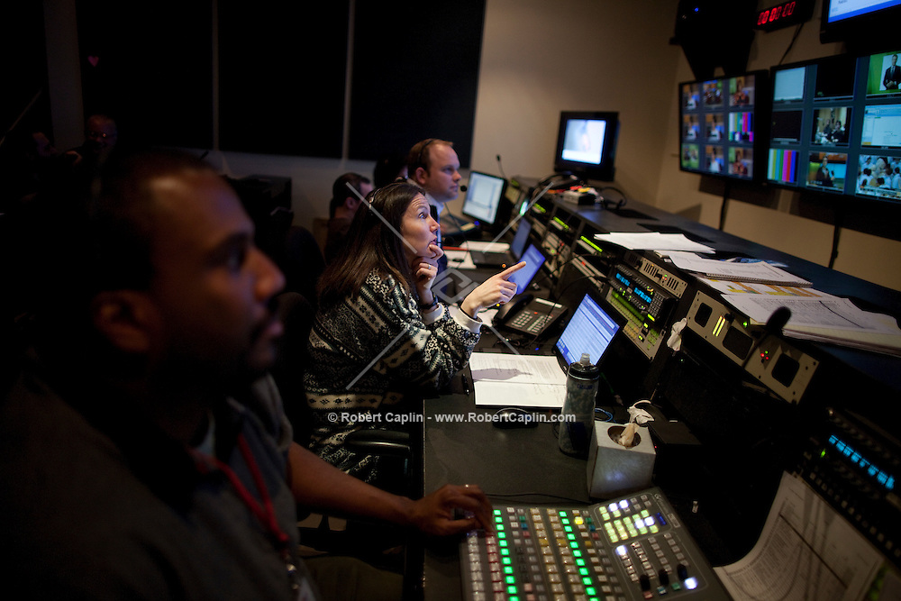 Control room of The Gayle King Show, on the Opera Network in New York City. ..Photo by Robert Caplin.