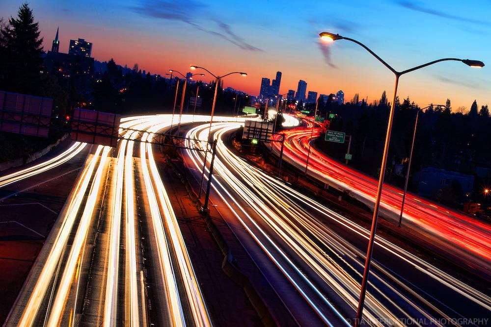 Interstate 5 & Seattle Skyline @ Sunset