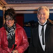 NLD/Amsterdam/20120404 - Opening filmmuseum Eye, Hans Dagelet en partner Esther Apituley