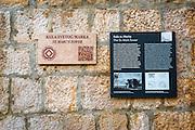 Interpretive sign at St. Mark Tower, Trogir, Dalmatian Coast, Croatia