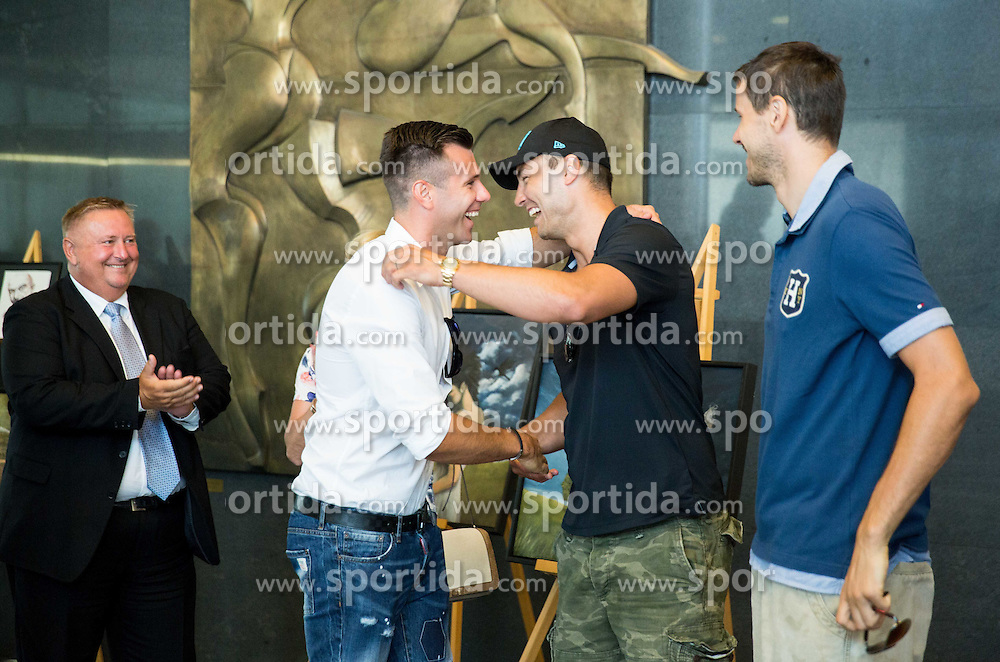 Sani Becirovic and Marko Milic during press conference after Sani Becirovic, Slovenian Basketball player ended his a long and successful career and started as Coach Assistant in Panathinaikos, on July 22, 2015 in Ljubljana, Slovenia. Photo by Vid Ponikvar / Sportida