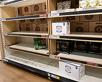 Tescos  Bicester panic-buying continues  as people worried  about the coronavirus  buy everything the can  March 15, 2020, the British Retail Consortium have sent a letter to the public urging them to work together as retailers have been sold out of essentials from over buying during the ongoing threat of the COVID-19 outbreak