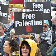 National Demonstration for Palestine commemorating 71 years since the Nakba (catastrophe). On 15th May 1948 over 750,000 Palestinians were expelled from their land during the establishment of the state of Israel ahead of the Nakba (catastrophe). on this day 15th May 1948 march through central on 11 May 2019, London, UK.