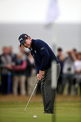 USA's Tom Watson putts on the 17th during day three of the Senior Open at Royal Porthcawl Golf Club.
