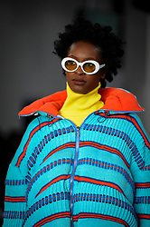 © Licensed to London News Pictures. 06/06/2018. LONDON, UK.  A model presents a look by Penny Gibbs from Northumbria University at the Best of Graduate Fashion Week 2018 show at the Old Truman Brewery in East London. The event presents the graduation show of up and coming fashion designers from UK and international universities.  Photo credit: Stephen Chung/LNP