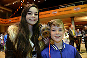 Tess and Michael O'Sullivan, Valentia Island with their dog 'Pixie' at the dog show during Ireland Bikefest 2017 in the INEC, Killarney at the weekend.<br /> Photo Don MacMonagle