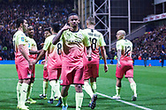 Manchester City forward Gabriel Jesus celebrates his goal with team-mates to make it 2-0  during the EFL Cup match between Preston North End and Manchester City at Deepdale, Preston, England on 24 September 2019.