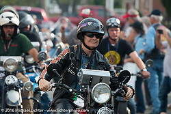 Cris Sommer Simmons riding her 1934 Harley-Davidson VD arrives at check-in at the finish before the hosted Dinner stop on Spanish Street in Cape Girardeau, Missouri during Stage 5 of the Motorcycle Cannonball Cross-Country Endurance Run, which on this day ran from Clarksville, TN to Cape Girardeau, MO., USA. Tuesday, September 9, 2014.  Photography ©2014 Michael Lichter.