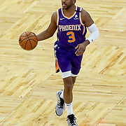 ORLANDO, FL - MARCH 24: Chris Paul #3 of the Phoenix Suns controls the ball against the Orlando Magic at Amway Center on March 24, 2021 in Orlando, Florida. NOTE TO USER: User expressly acknowledges and agrees that, by downloading and or using this photograph, User is consenting to the terms and conditions of the Getty Images License Agreement. (Photo by Alex Menendez/Getty Images)*** Local Caption *** Chris Paul