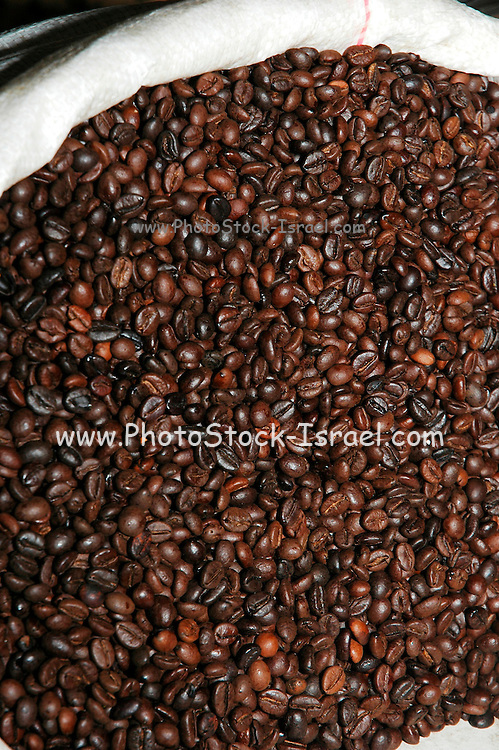 coffee beans at an outdoor market, Akko, Israel