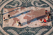 PORTUGAL, LISBON Mosaic pavement at foot of the Monument to the Discoveries; shows compass and map with dates of Portuguese explorations