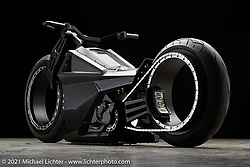 Tim McNamer's Girder Air style Zero SRF Electric motorcycle. Photographed by Michael Lichter in Sturgis, SD. August 7, 2021. ©2021 Michael Lichter