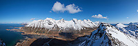 Panoramic view of Skjefjord and mountains of Flakstadøy from summit of Volandstind, Lofoten Islands, Norway