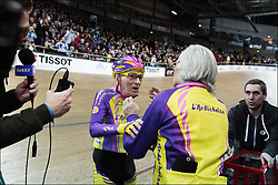 105-year-old cyclist Robert Marchand during his attempt to break world record in senior endurance race in Saint-Quentin-en-Yvelines, France on January 04, 2017. The French cyclist managed 22.547km (14 miles) at the French national velodrome, taking the top spot in a new category - for riders over 105. Robert Marchand already holds the record for those aged over 100 - 26.927km - set in 2012. 'My legs didn't hurt'. 'My arms hurt but that's because of rheumatism.' 'I'm not in such good shape as I was a couple of years back,'. 'I am not here to be champion. I am here to prove that at 105 years old you can still ride a bike,' he said. Born on 26 November 1911, Mr Marchand puts his fitness down to diet - lots of fruit and vegetables, a little meat, not too much coffee - and an hour a day on the cycling home-trainer. A prisoner of war in World War Two, he went on to work as a lorry driver and sugarcane planter in Venezuela, and a lumberjack in Canada. No stranger to sport outside cycling, he competed in gymnastics at national level and has been a boxer. The current men's hour record is held by the UK's Bradley Wiggins - 54.526km - which he set in June 2015.Photo by Frederic Lafargue/ABACAPRESS.COM