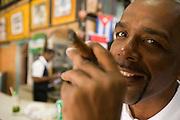 Havana 2009 - Cuban man smoking a cigar in a bar in colonial Havana.