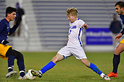 St. Louis University midfielder John Klein moves the ball between two University of Missouri - Kansas City players. St. Louis University played the University of Missouri - Kansas City in men's soccer on February 3, 2021 at Robert Hermann Stadium on the SLU campus in St. Louis, MO.<br /> Tim Vizer/For the Post-Dispatch