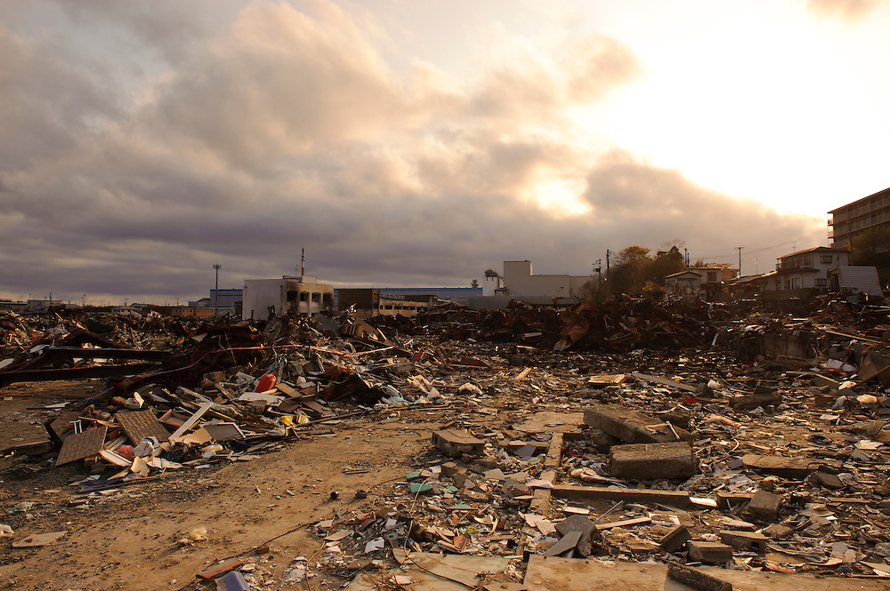 Devastation from the March 11 tsunami, Ishinomaki, Miyagi Prefecture, Japan, May 5, 2011. Almost two months after the devastating earthquake and tsunami the reconstruction has barely begun.