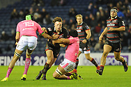 Hamish Watson under pressure during the European Rugby Challenge Cup match between Edinburgh Rugby and Stade Francais at Murrayfield Stadium, Edinburgh, Scotland on 12 January 2018. Photo by Kevin Murray.