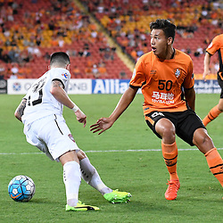 BRISBANE, AUSTRALIA - FEBRUARY 21: Dane Ingham of the Roar reacts to a refereeing decision during the Asian Champions League Group Stage match between the Brisbane Roar and Muangthong United FC at Suncorp Stadium on February 21, 2017 in Brisbane, Australia. (Photo by Patrick Kearney/Brisbane Roar)