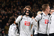 Derby County midfielder, on loan from Middlesbrough, Julien De Sart (17) celebrates after scoring a goal Valentines to make it 1-0 during the EFL Sky Bet Championship match between Derby County and Cardiff City at the Pride Park, Derby, England on 14 February 2017. Photo by Jon Hobley.