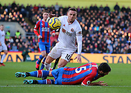 Sheffield United's Billy Sharp and Crystal Palace's James Tomkins during the Premier League match at Selhurst Park, London. Picture date: 1st February 2020. Picture credit should read: Paul Terry/Sportimage
