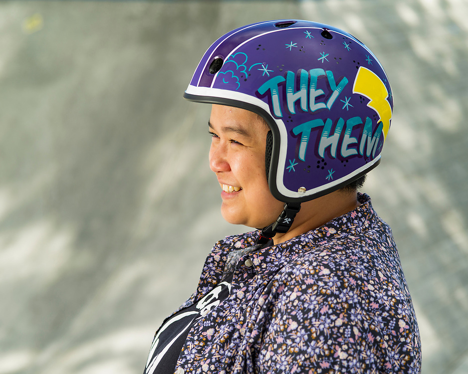 """Lauren Macadaeg (they/them)<br /> <br /> """"Being queer/nonbinary for me is discovering my own uniqueness and finding community, which I have through roller derby,"""" said Macadaeg, a graphic designer from Capitola, California. """"What I love about the skating community is, at any skill level, there is a sense of family and acceptance that I haven't experienced anywhere else.<br /> <br /> """"Before derby, I knew I was on the spectrum of queer and pansexual, but I didn't have the language or support until I met my derby mates who genuinely wanted to see me become my best self. My derby league was the first place I asked people to use they/them pronouns for me.<br /> <br /> """"I'm still figuring stuff out about myself, my gender and sexuality, and that's OK. My teammates have always been my biggest cheerleaders on the track and in the skatepark."""""""