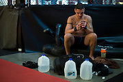 UFC lightweight Diego Sanchez of Albuquerque cools down after a workout at Jackson Wink MMA in Albuquerque, New Mexico on June 9, 2016.