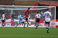Football - 2021 / 2022 Emirates FA Cup - First Round Qualifying - Worthing vs Corinthian-Casuals - The Crucial Environment Stadium, Woodside Road - Saturday 4th September 2021<br /> <br /> Worthing's Mo Diallo rises to head home Worthings equaliser The Crucial Enviromental Stadium <br /> <br /> COLORSPORT/SHAUN BOGGUST