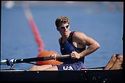 Sydney, AUSTRALIA,  USA  M8+, Christian AHRENS. 2000 Olympic Regatta, West Lakes Penrith. NSW.  [Mandatory Credit. Peter Spurrier/Intersport Images] Sydney International Regatta Centre (SIRC) 2000 Olympic Rowing Regatta00085138.tif