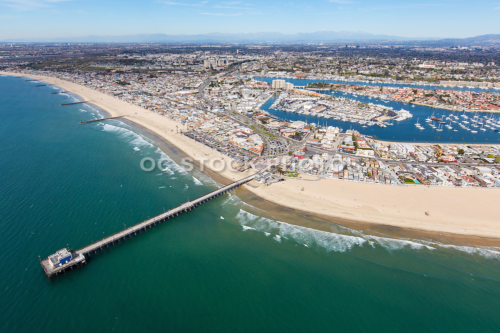Newport Beach Pier Aerial Stock Photo