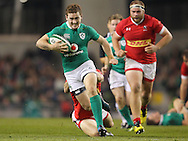 Paddy Jackson of Ireland makes a break during the 2016 Guinness Series  autumn international rugby match, Ireland v Canada at the Aviva Stadium in Dublin, Ireland on Saturday 12th November 2016.<br /> pic by  John Halas, Andrew Orchard sports photography.