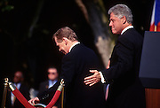 """President Bill Clinton escorts Czech President Vaclav Havel for the review of the troops at the White House during the Czech State Visit September 16, 1998 in Washington, DC.  Vaclav Havel, the former dissident playwright who led Czechoslovakia's 1989 """"Velvet Revolution"""" against communism and then served as his country's president, died December 18, 2011.  He was 75."""