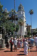 Tourists below Casa Grande, Hearst Castle San Simeon State Historic Park, California