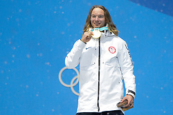 February 22, 2018 - Pyeongchang, South Korea - DAVID WISE of the United States celebrates getting the gold medal in the Men's Ski Halfpipe freestyle skiing event in the PyeongChang Olympic Games. (Credit Image: © Christopher Levy via ZUMA Wire)