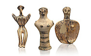 Mycenaean female figurines  from Mycenae tombs, Archaeological Museum Athens.  White Background.<br /> <br /> Left: Seated Mycenaean female figurine with raies arms, from Mycenae tomb 91,  Cat No 3193. <br /> <br /> Middle: Hollow Mycenaean female figurine, adorant, wearing a necklace, from Mycenae tomb 40,  Cat No 2494. <br /> <br /> Right: Upper part of a Mycenaean female figurine with stylised arms wearing a necklace, from Mycenae tomb 101,  Cat No 4690 .<br /> <br /> If you prefer to buy from our ALAMY PHOTO LIBRARY  Collection visit : https://www.alamy.com/portfolio/paul-williams-funkystock/mycenaean-art-artefacts.html . Type -   Athens    - into the LOWER SEARCH WITHIN GALLERY box. Refine search by adding background colour, place, museum etc<br /> <br /> Visit our MYCENAEN ART PHOTO COLLECTIONS for more photos to download  as wall art prints https://funkystock.photoshelter.com/gallery-collection/Pictures-Images-of-Ancient-Mycenaean-Art-Artefacts-Archaeology-Sites/C0000xRC5WLQcbhQ