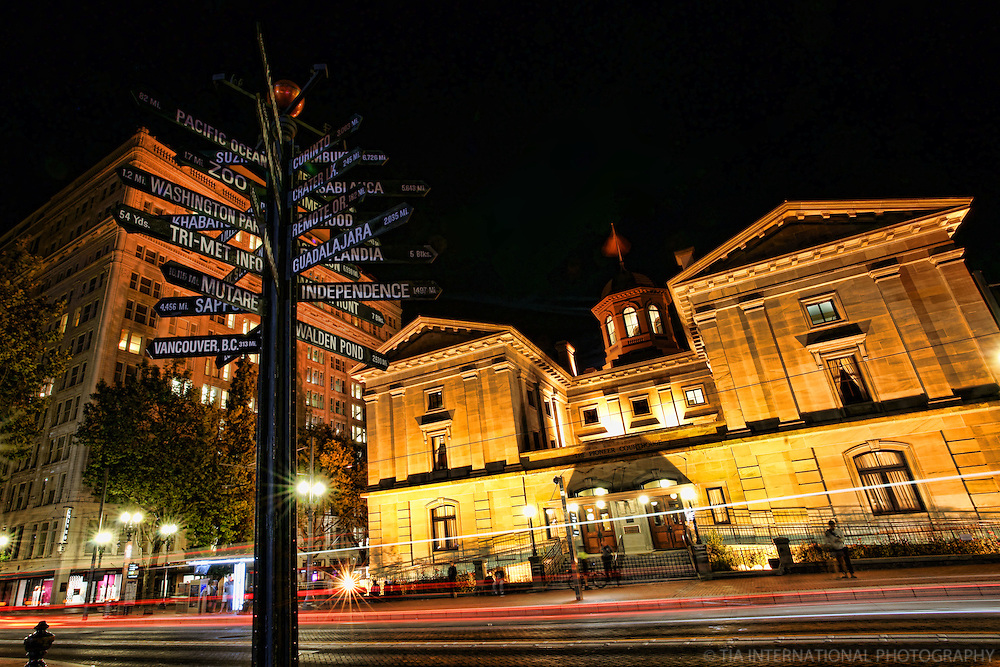 Mileage Sign & Courthouse, Pioneer Courthouse Square (Night)