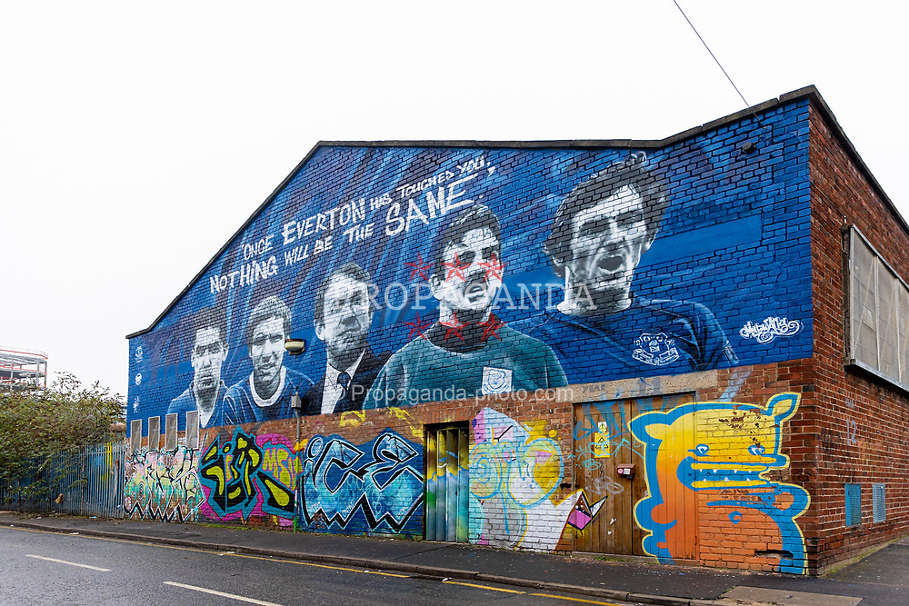 LIVERPOOL, ENGLAND - Saturday, November 28, 2020: Street art mural of Everton players Dixie Dean, Alan Ball, manager Howard Kendall, Neville Southall and Leighton Baines in the Baltic Triangle, Liverpool. (Pic by David Rawcliffe/Propaganda)