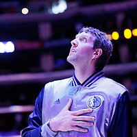 10 January 2014: Dallas Mavericks forward Dirk Nowitzki (41) stands during the national anthem prior to the Los Angeles Clippers 120-100 victory over the Dallas Mavericks, at the Staples Center, Los Angeles, California, USA.