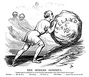 """The Modern Sisyphus. """"Sisyphus is said to be doomed for ever to roll to the top of a great mountain a stone, which continually falls down again."""" Sisyphus..Sir R P- L. The Stone..D O'C - L. The Furies..Lord J R- L., S - L, &c."""