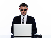 business man caucasian hacker computer attack isolated studio on white background