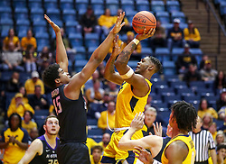 Feb 18, 2019; Morgantown, WV, USA; West Virginia Mountaineers forward Derek Culver (1) shoots in the lane during the second half against the Kansas State Wildcats at WVU Coliseum. Mandatory Credit: Ben Queen-USA TODAY Sports