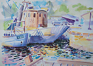 Watercolour painting of boats in a harbour.